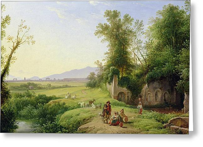 Nature Scene Paintings Greeting Cards - The Grove of Egeria  Greeting Card by Franz Ludwig Catel