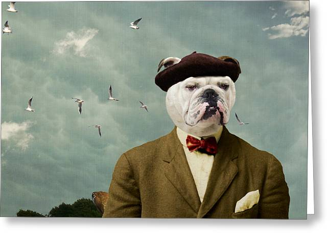 Dogs Digital Art Greeting Cards - The Grumpy Man Greeting Card by Martine Roch