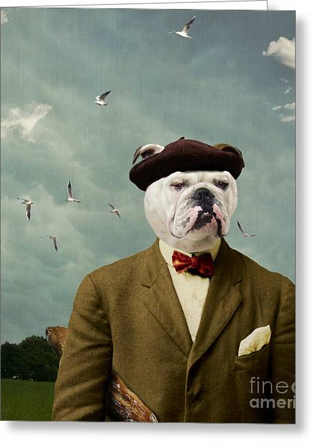 Funny Dog Digital Greeting Cards - The Grumpy Man Greeting Card by Martine Roch
