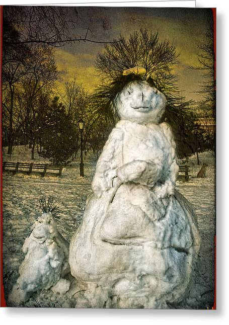 The Grunge Snowperson And Small Goth Friend Greeting Card by Chris Lord
