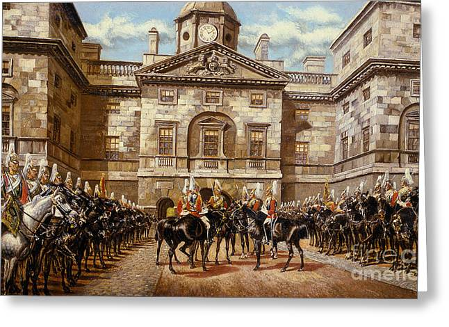 The Guard Mounting  The Horse Guards At Whitehall  Greeting Card by Harry Payne and Arthur Charles