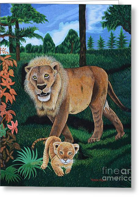 Lions Tapestries - Textiles Greeting Cards - The Guardian 2 Greeting Card by To-Tam Gerwe