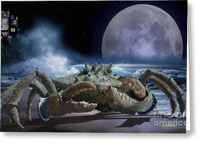 Moon Beach Greeting Cards - The Guardian Greeting Card by Joseph Juvenal