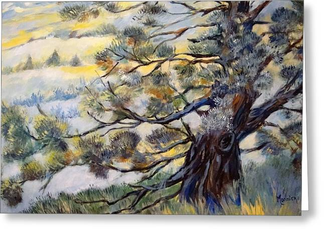 The Trees Greeting Cards - The Guardian Of The Valley Greeting Card by Cathy MONNIER