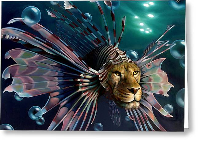 Lionfish Greeting Cards - The Guardian Greeting Card by Patrick Anthony Pierson