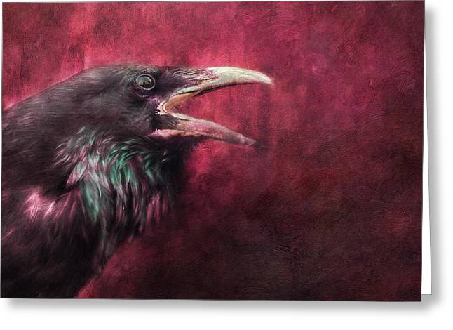 Corvus Greeting Cards - The Guardian Greeting Card by Priska Wettstein