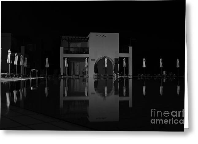 Reflecting Water Greeting Cards - The guards at the pool Greeting Card by Iryna Irkin