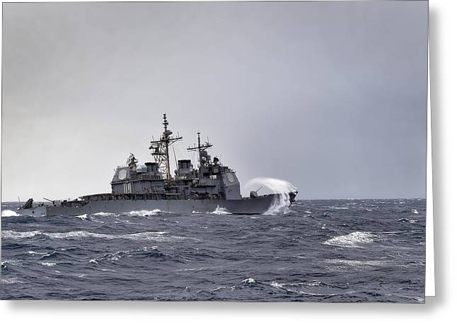 Nato Greeting Cards - The guided missile-cruiser USS Anzio Greeting Card by Celestial Images