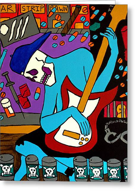 Pill Drawings Greeting Cards - The Guitarist on Heroin Greeting Card by Arne Henn
