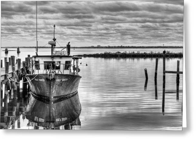 Florida Panhandle Greeting Cards - The Gulf Queen BW Greeting Card by JC Findley
