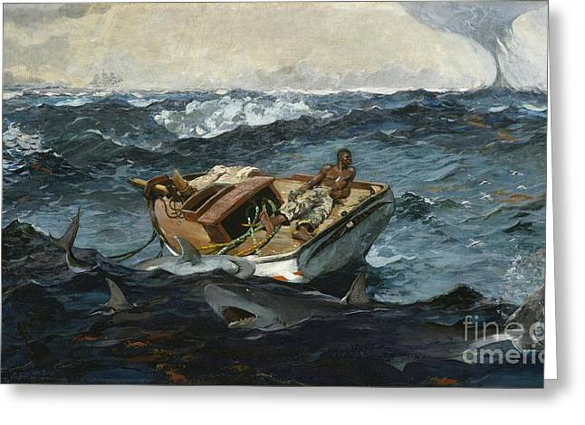 Winslow Homer Greeting Cards - The Gulf Stream Greeting Card by Celestial Images