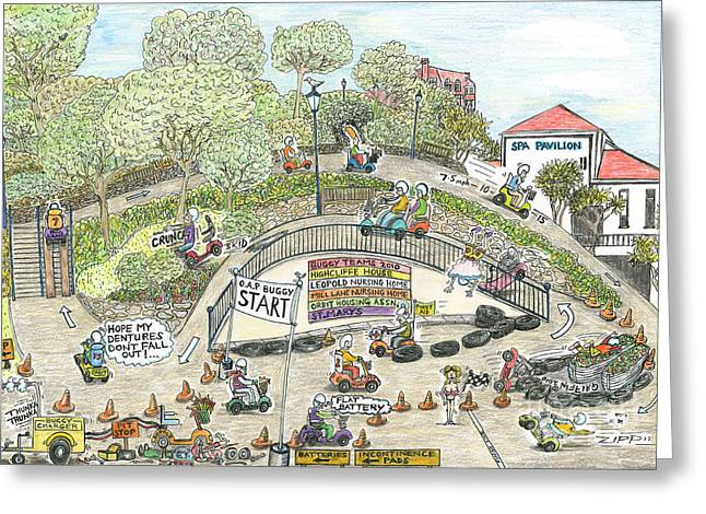 Rally Drawings Greeting Cards - The Gummyball Rally. Greeting Card by Steve Royce Griffin