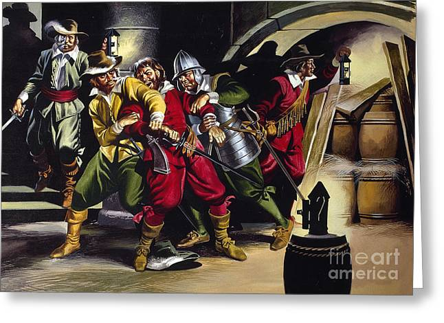 Bonfire Night Greeting Cards - The Gunpowder Plot Greeting Card by Ron Embleton