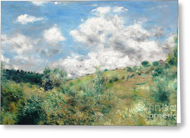 Dales Greeting Cards - The Gust of Wind Greeting Card by Pierre Auguste Renoir
