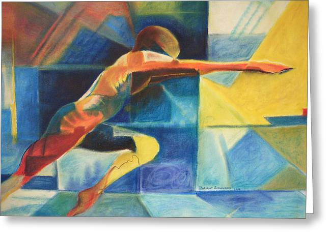 Athlete Pastels Greeting Cards - The Gymnast  Greeting Card by Benedict Olorunnisomo