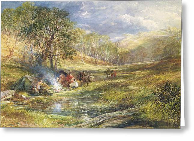 Wanderer Greeting Cards - The Gypsy Dell   Moonlight Greeting Card by Samuel Palmer