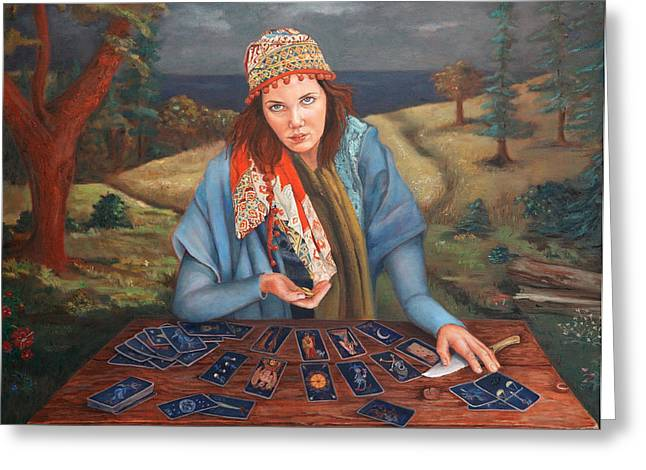 Gypsy Paintings Greeting Cards - The Gypsy Fortune Teller Greeting Card by Enzie Shahmiri