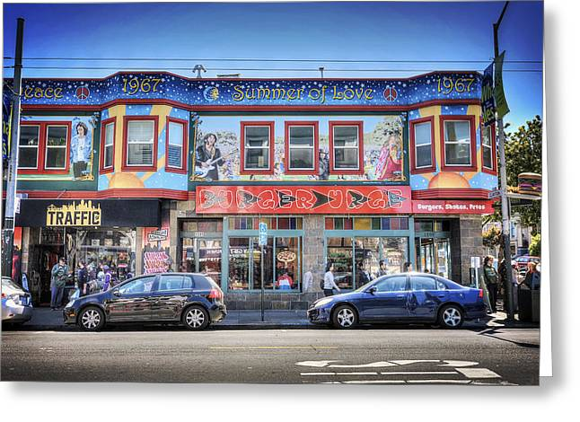 Urge Greeting Cards - The Haight - Burger Urge - San Francisco Greeting Card by Jennifer Rondinelli Reilly