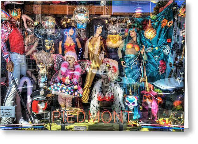 Store Fronts Greeting Cards - The Haight - Piedmont Boutique Window Mannequins - San Francisco Greeting Card by Jennifer Rondinelli Reilly