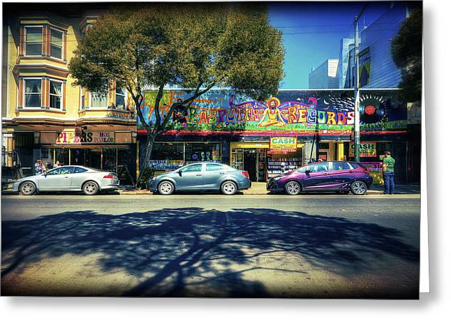 Store Fronts Greeting Cards - The Haight - Rasputin Records - San Francisco Greeting Card by Jennifer Rondinelli Reilly