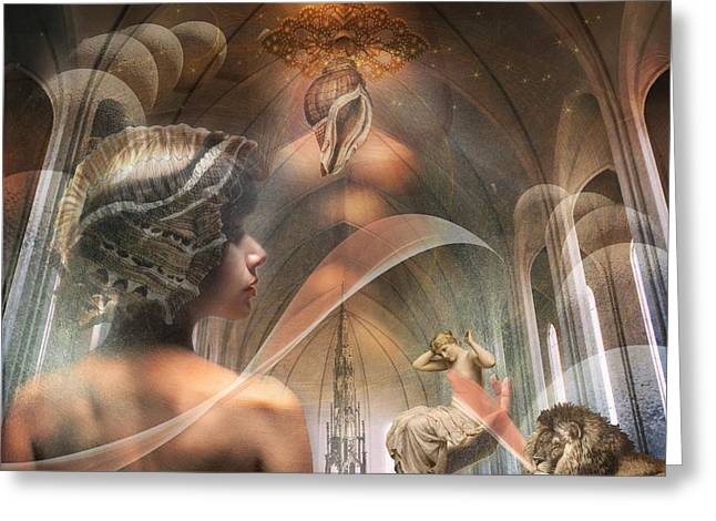Sea Lions Mixed Media Greeting Cards - The Halls of Atlantis Greeting Card by Terry Fleckney