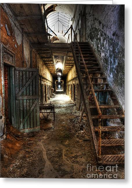 Loose Greeting Cards - The Hallway of Broken Dreams - Eastern State Penitentiary - Lee Dos Santos Greeting Card by Lee Dos Santos