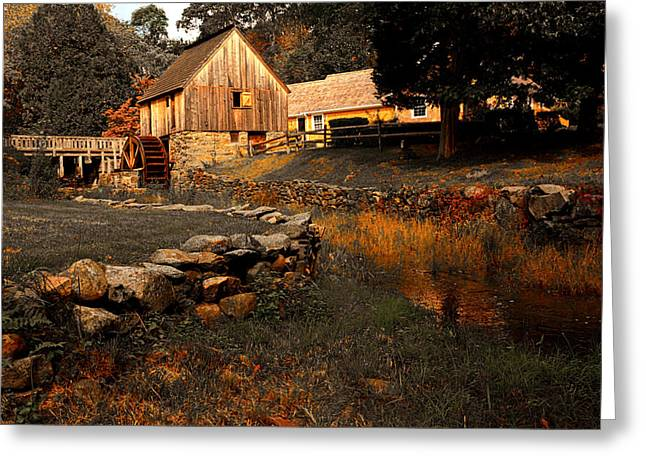 Old Mill Scenes Paintings Greeting Cards - The Hammond Gristmill Greeting Card by Lourry Legarde