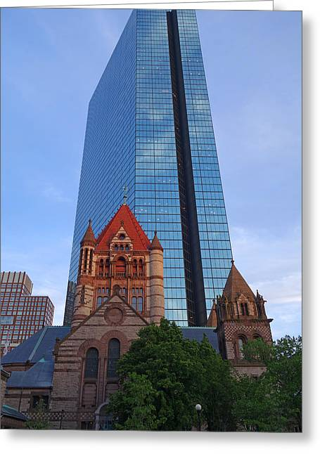Boston Ma Greeting Cards - The Hancock over the Trinity Church Boston MA Greeting Card by Toby McGuire