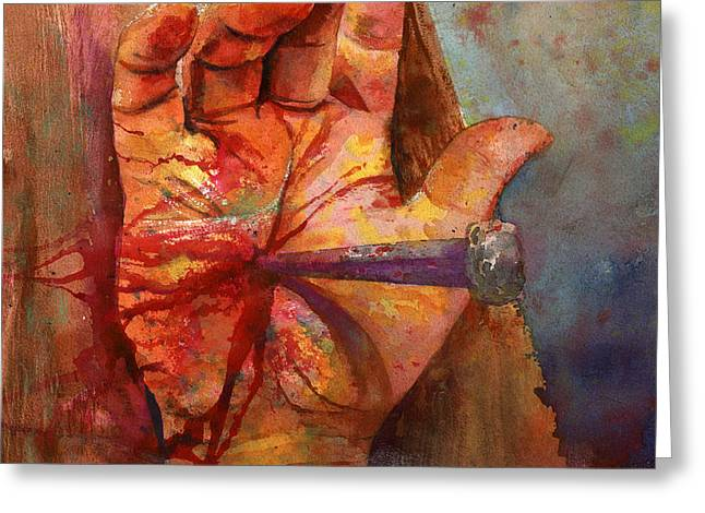 Jesus Greeting Cards - The Hand of God Greeting Card by Andrew King