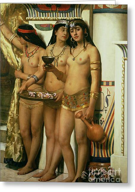 Maidens Greeting Cards - The Handmaidens of Pharaoh Greeting Card by John Collier
