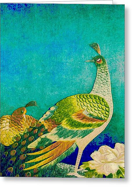 Paint Photograph Greeting Cards - The Handsome Peacock - Kimono Series Greeting Card by Susan Maxwell Schmidt