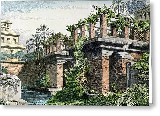 Civilization Greeting Cards - The Hanging Gardens of Babylon Greeting Card by Ferdinand Knab