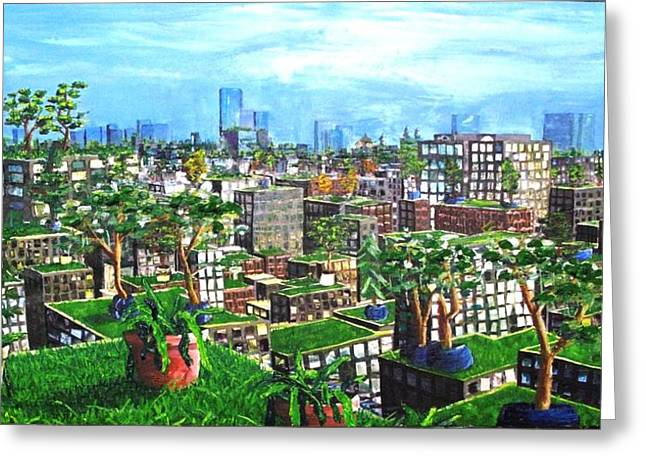 Babylon Mixed Media Greeting Cards - The Hanging Gardens. Greeting Card by Samuel Miller