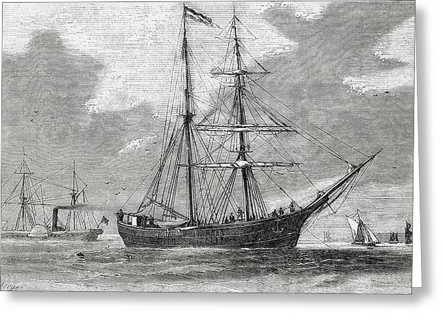 Schooner Greeting Cards - The Hansa. Schooner Which Took Part In Greeting Card by Vintage Design Pics