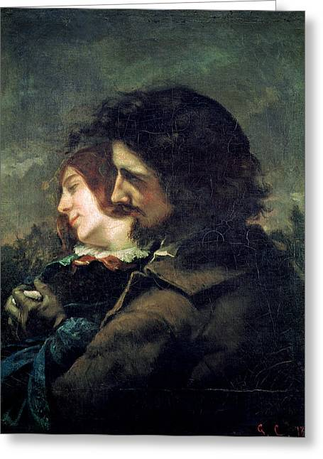 Couple Embracing Greeting Cards - The Happy Lovers Greeting Card by Gustave Courbet