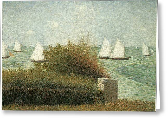 Sailboats In Harbor Greeting Cards - The Harbor at Grandcamp Greeting Card by Georges Seurat