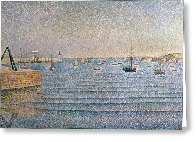 Boats At Dock Greeting Cards - The Harbour at Portrieux Greeting Card by Paul Signac