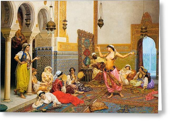 Lounge Paintings Greeting Cards - The Harem Dance Greeting Card by Giuio Roasati
