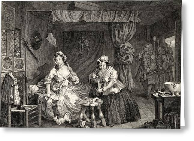 Magistrates Greeting Cards - The Harlots Progress Apprehended By A Greeting Card by Ken Welsh