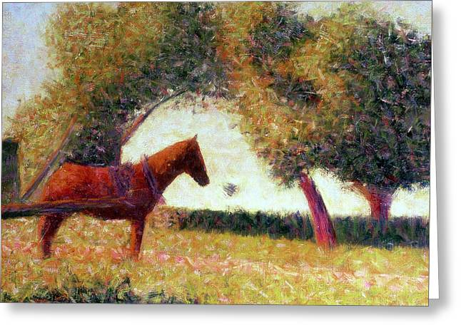 Green Pasture Greeting Cards - The Harnessed Horse Greeting Card by Georges Pierre Seurat