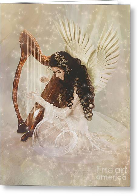 Dreamlike Greeting Cards - The Harpist Greeting Card by Babette Van den Berg