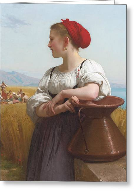 The Harvester Greeting Card by William-Adolphe Bouguereau