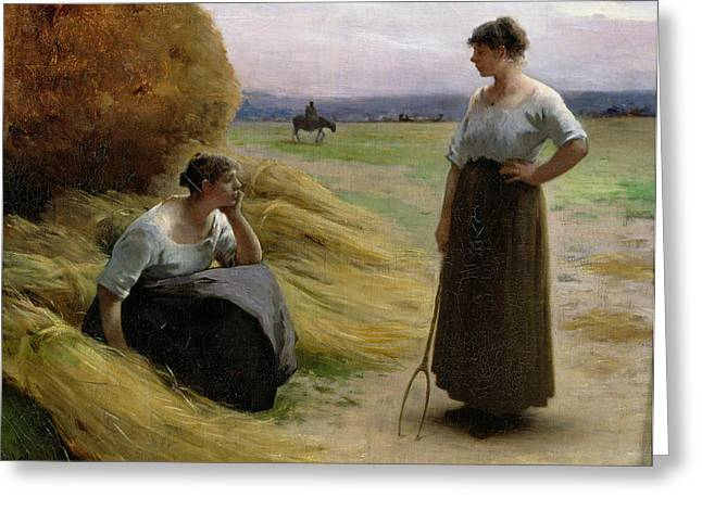 Discussing Greeting Cards - The Harvesters Greeting Card by Henri Lerolle
