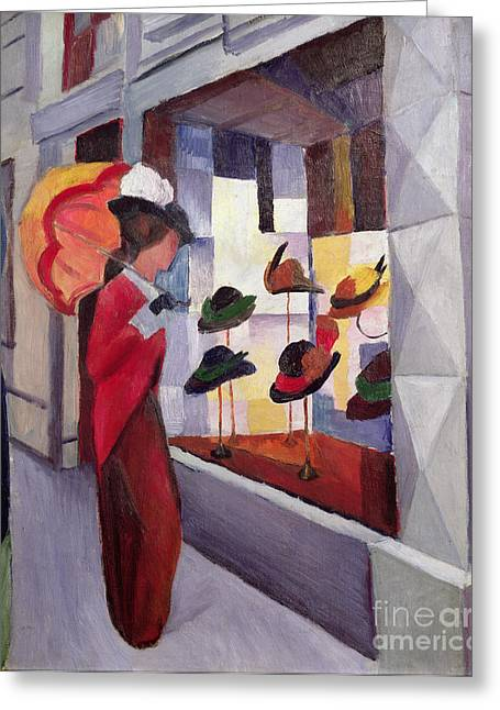 The Front Greeting Cards - The Hat Shop Greeting Card by August Macke