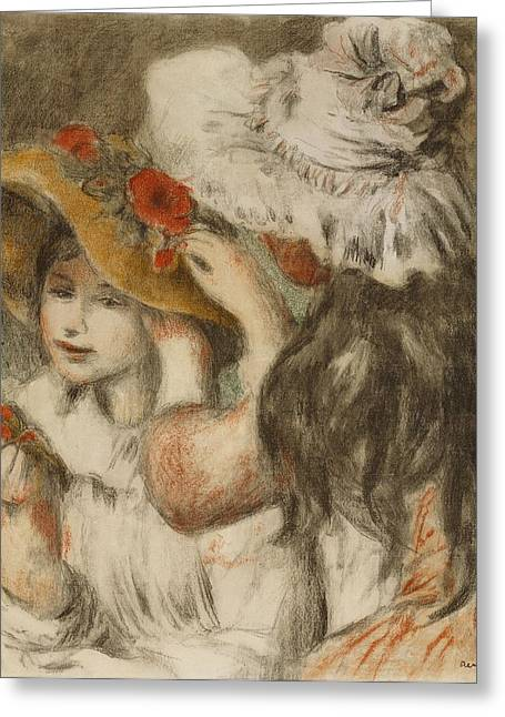 Black Hair Greeting Cards - The Hatpin Greeting Card by  Pierre Auguste Renoir