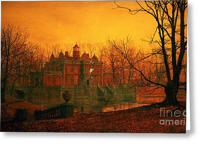 Grimshaw; John Atkinson (1836-93) Greeting Cards - The Haunted House Greeting Card by John Atkinson Grimshaw