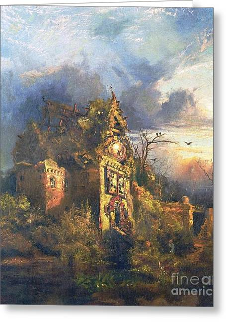 Figures Paintings Greeting Cards - The Haunted House Greeting Card by Thomas Moran