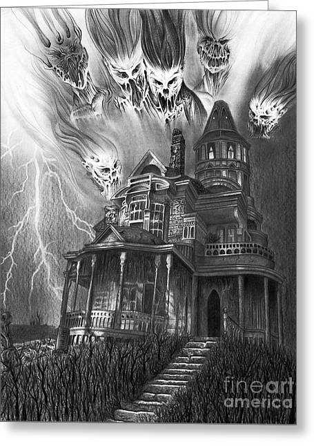 The Haunted House Greeting Card by Wave Art