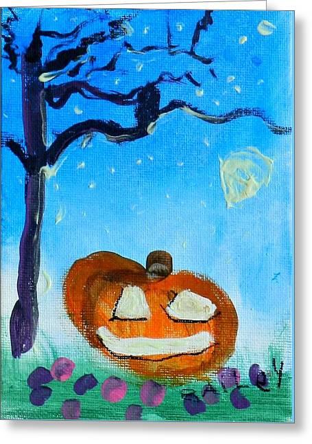 Jack O Lanterns Jackolantern Greeting Cards - The Haunted Night Greeting Card by Bailey Herrmann
