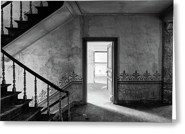 The Haunted Staircase - Abandoned Building Bw Greeting Card by Dirk Ercken
